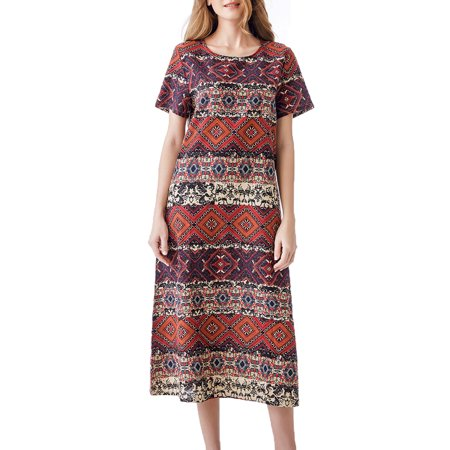 Womens H Line Bohemian Loose Fit Geometrical Print Dress](Girls Bohemian Dress)