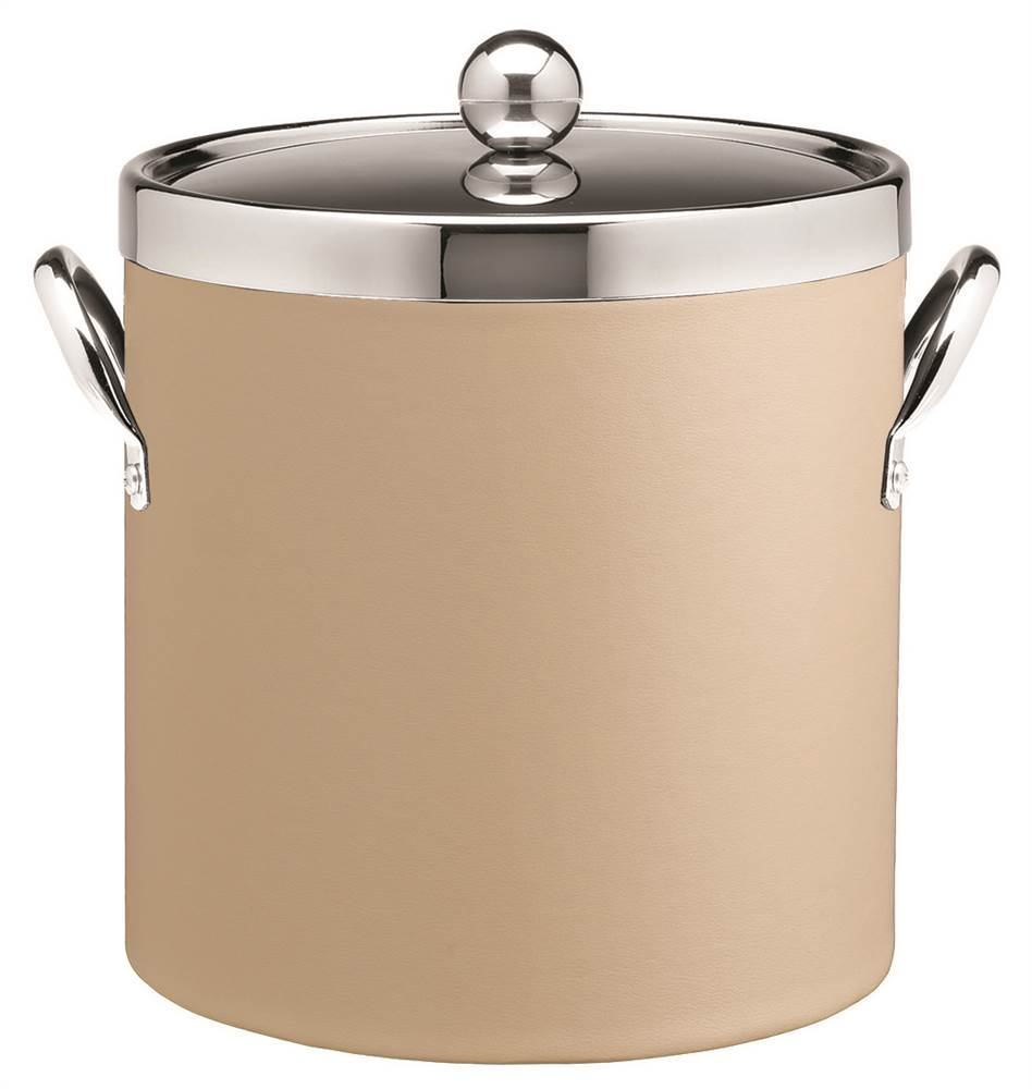 3 Qt. Ice Bucket in Beige with Leatherette Vinyl Texture by Kraftware Corp