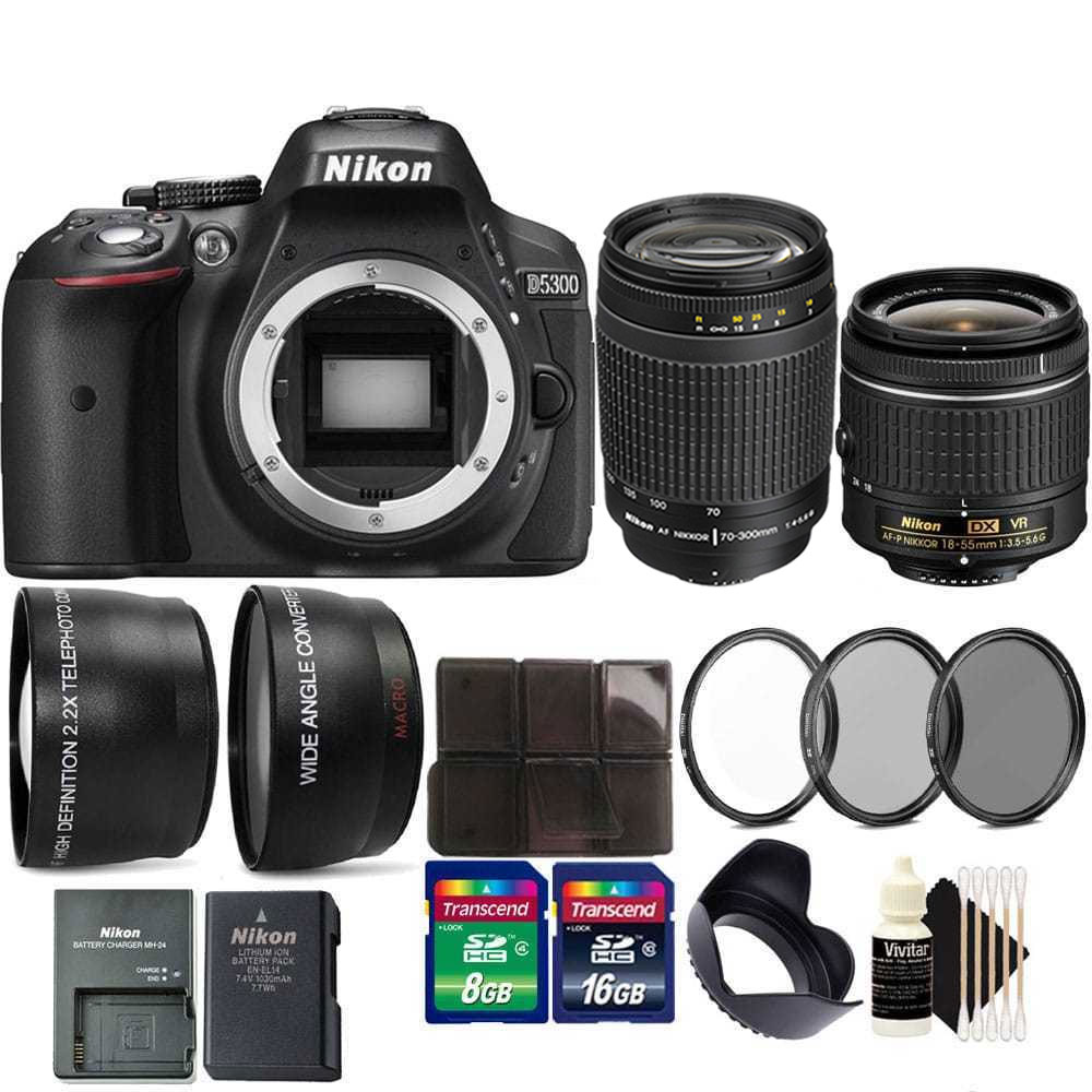 Nikon D5300 24.2MP D-SLR Camera with 18-55mm, 70-300mm Lens + 24GB Accessory Kit