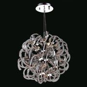 "Worldwide Lighting W83112C20 Chrome Medusa 9 Light 1 Tier 20"" Chrome Chandelier"