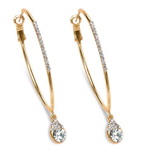 """White Crystal Hoop Teardrop Earrings in Gold Tone (1.5"""")"""