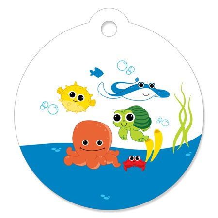 Under The Sea Critters - Baby Shower or Birthday Party Favor Gift Tags (Set of 20) - Under The Sea Favors