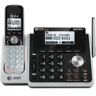 """AT&T TL88102 (80-8661-00) DECT 6.0 Expandable Digital 2-Line Cordless Phone With Dual Caller ID, Answering System and Dial in Base Speakerphone"""