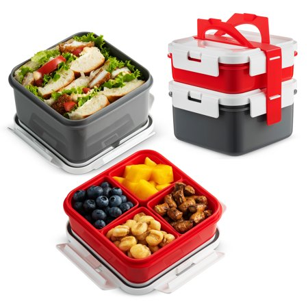 Komax Lunchmate Bento Lunch Box [2 Pack] with Snap Locking Lid | Leakproof, Portion Control containers for Kids and Adults | Dishwasher, Freezer & Microwave Safe | BPA Free Food Storage Containers