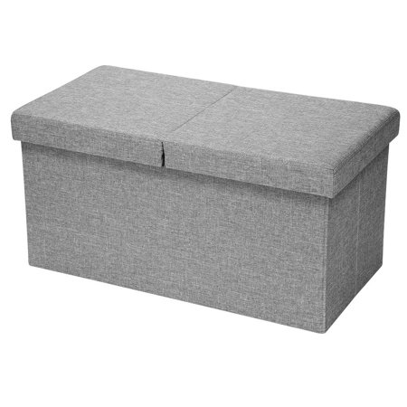 Sortwise Folding Storage Ottoman With Smart Lift Top Foot Rest Stool Table Ottomans Bench Ultra Soft Poly Linen Grey 30 X 15