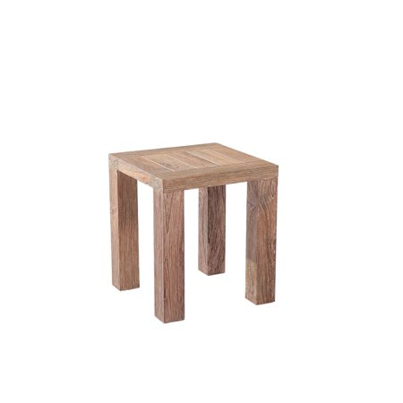Emerald Home Reims Reclaimed Teak Outdoor End Table with Solid Teak, Straight Timber Legs, And Slat Top ()