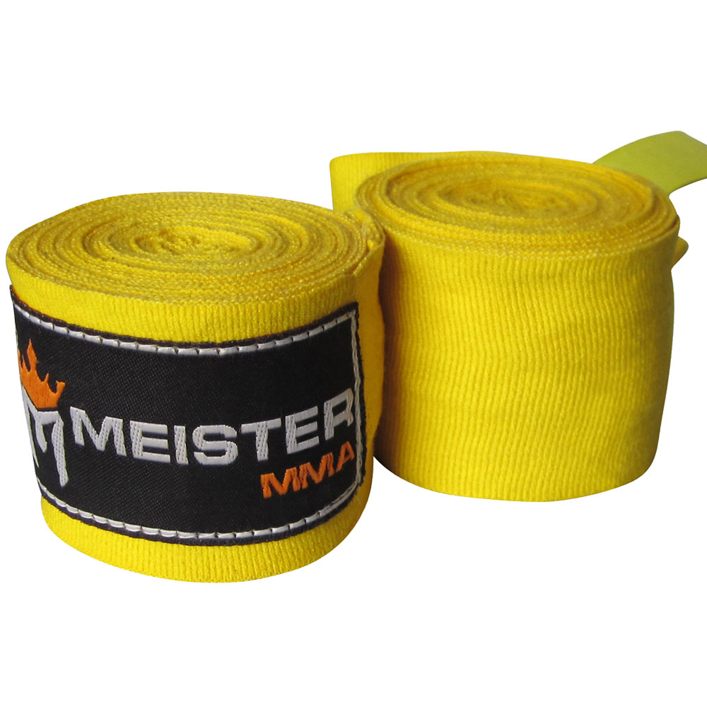 "Meister 180"" Semi-Elastic MMA Hand Wraps (Pair) - Yellow"