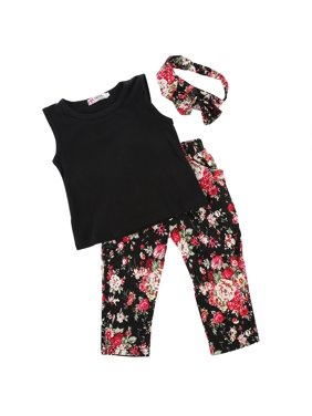 3Pcs Toddler Kids Girls Summer Vest Tops + Long Floral Pants + Headband Outfits Clothes Set