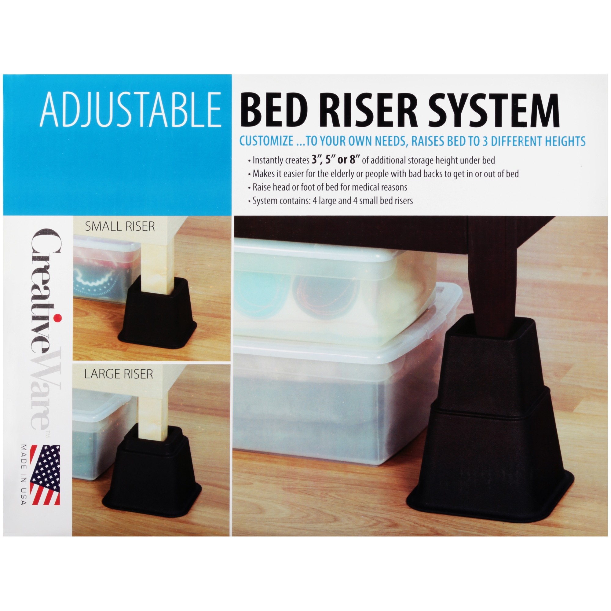 CreativeWare™ Adjustable Bed Riser System - Walmart.com
