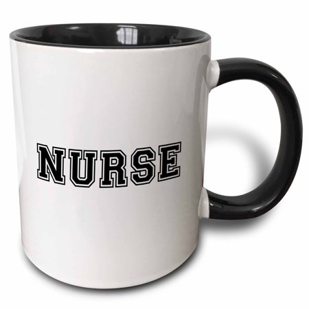 3dRose Nurse in preppy retro black college font on white - proud nursing school graduate - nurses day gifts - Two Tone Black Mug, 11-ounce for $<!---->