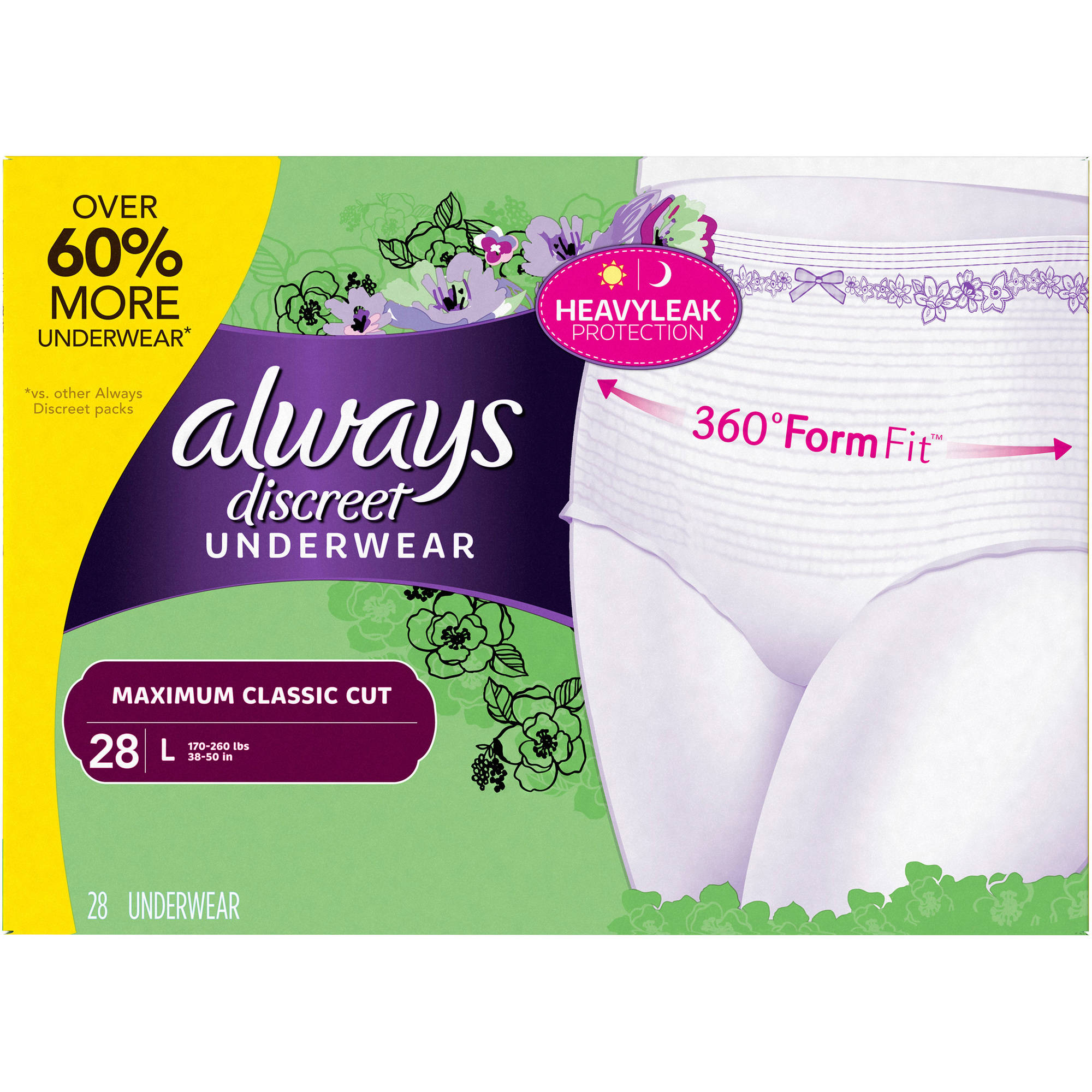 Always Discreet Incontinence Underwear for Women, Maximum, Classic, L, 28 Ct