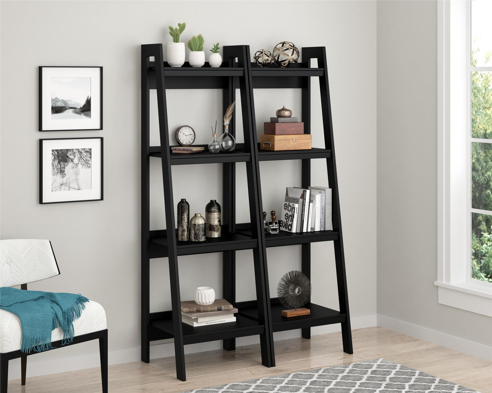 Ameriwood Home Hayes 4 Shelf Ladder Bookcase Bundle Black Walmart Com Walmart Com