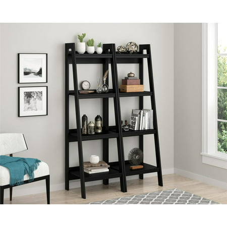 Ameriwood Home Hayes 4 Shelf Ladder Bookcase Bundle, Black (Set of 2)