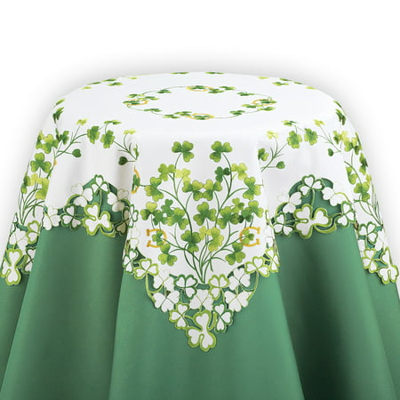 St. Patricks Day Table Linens w Shamrocks, Clover Leaves, Square