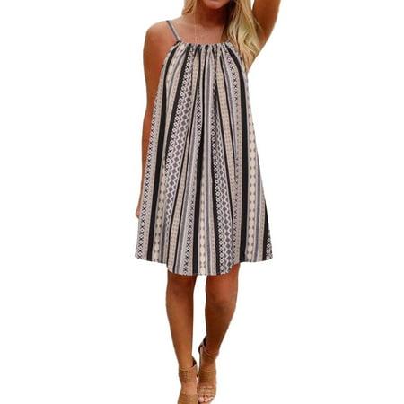 Square Back Dress (STARVNC Women Sleeveless Square Neck Stripe Print Tie Back Midi Dress)