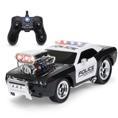 Best Choice Products 1/14 Scale 2.4GHz Remote Control Police Car w/ Flashing Lights, Sound Effects, Non-Slip Rubber Tires, Rechargeable Batteries, USB Cable - -
