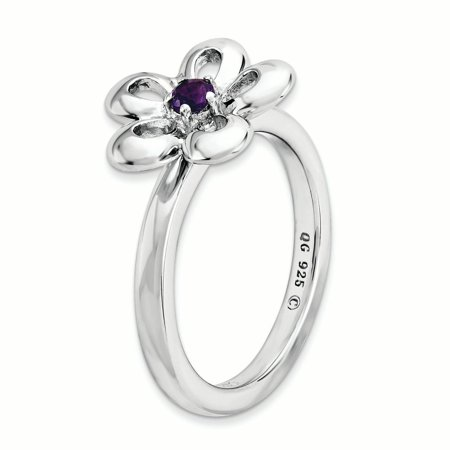 Sterling Silver Stackable Expressions Polished Amethyst Flower Ring Size 10 - image 3 de 3