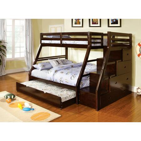 Furniture Of America Haiden Twin Bunk Bed Staircase Drawers Dark Walnut