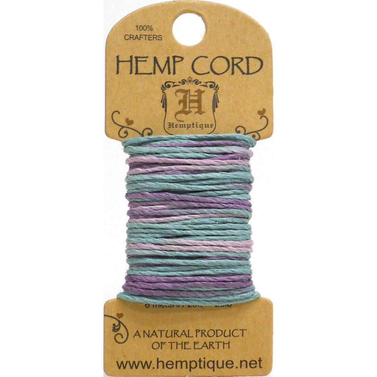 Hemp Variegated Cord 20lb 20'-Pastel