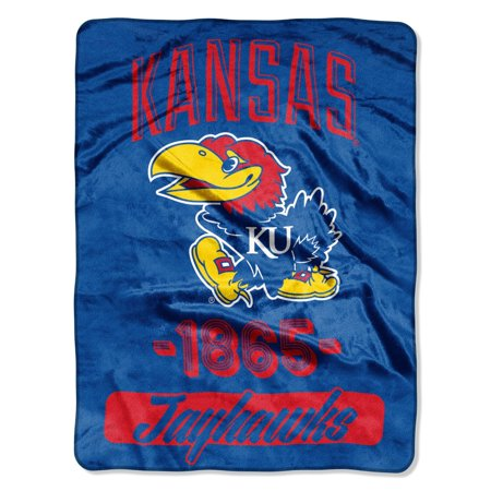 Kansas KU Jayhawks 1865 NCAA Plush Throw Blanket - 46 x 60 inches (Jayhawks Throw)