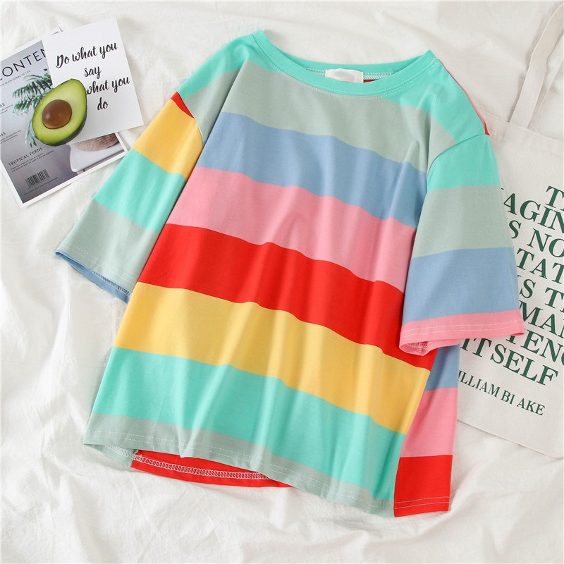 Colorful Rainbow Pattern O-Neck T-Shirt Casual Cotton Tee Unisex