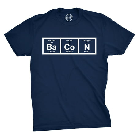 Mens The Chemistry Of Bacon T Shirt Funny Brunch Periodic Table Science Tee - Funny Mens Onesies