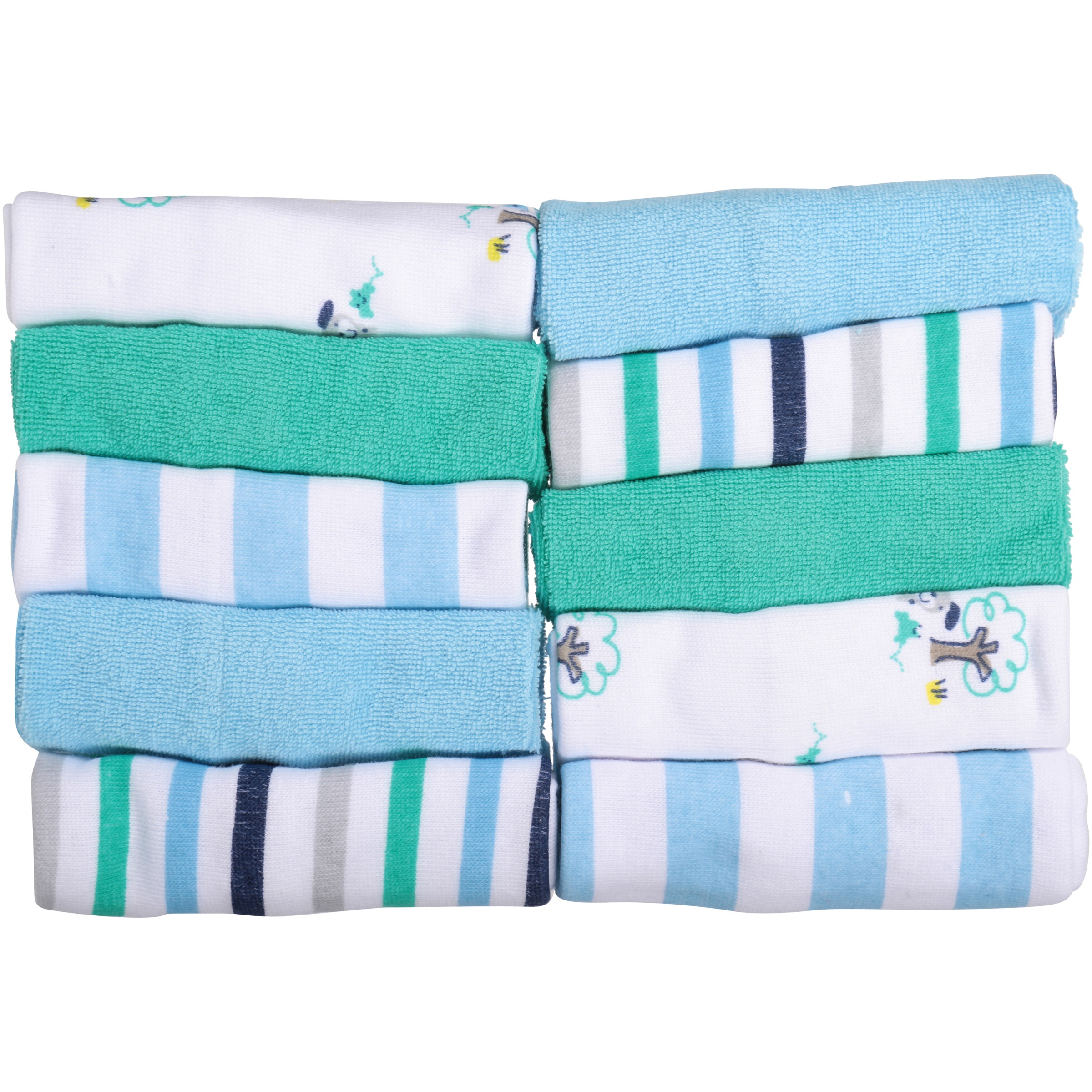 Gerber Newborn Baby Boy Terry Printed Washcloths, Dog, 10 Pack
