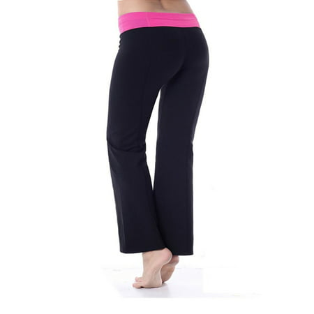 Yoga Pants - Bootcut Yoga Pants Cotton with Contrast Waistband