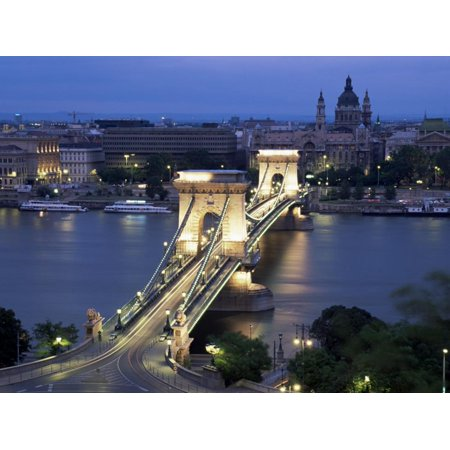 View Over Chain Bridge and St. Stephens Basilica, Budapest, Hungary Print Wall Art By Gavin Hellier