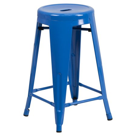 Fine Flash Furniture 24 High Backless Blue Metal Indoor Outdoor Counter Height Stool With Round Seat Machost Co Dining Chair Design Ideas Machostcouk