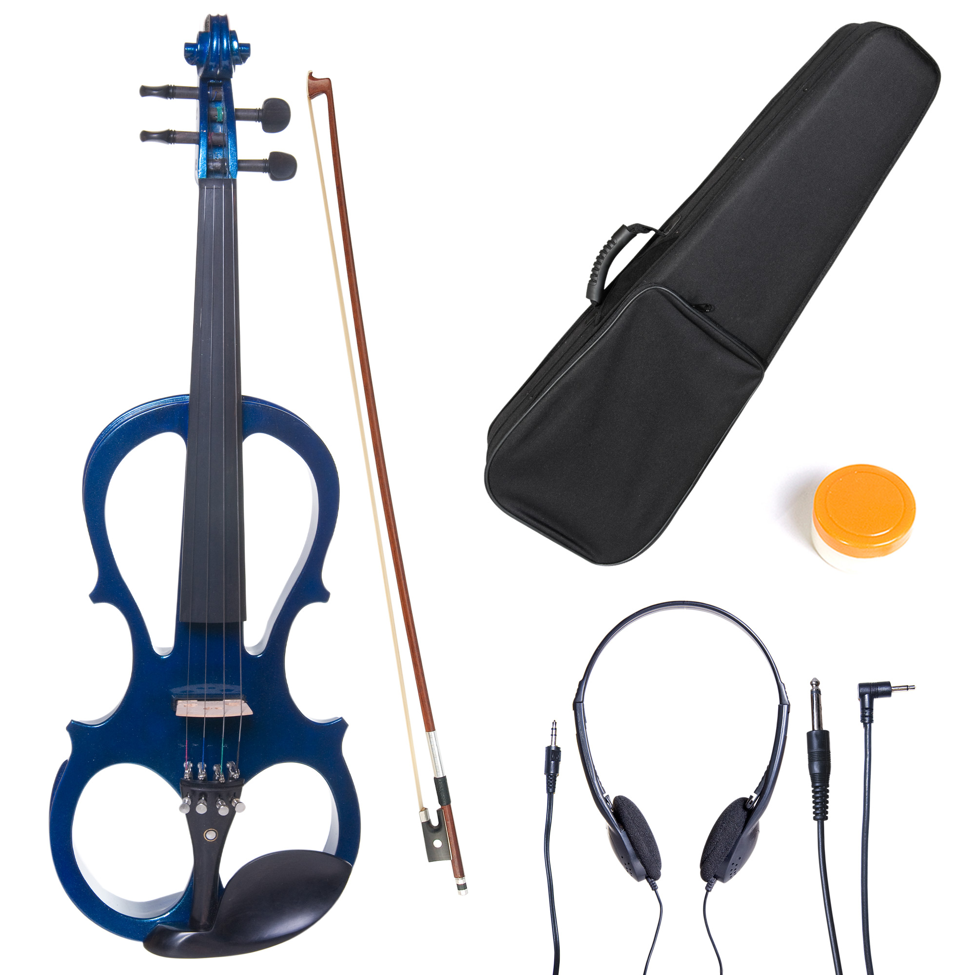 Cecilio Full Size Left-Handed Solid Wood Electric Silent Violin with Ebony Fittings-L4/4CEVN-L1BL Metallic Blue