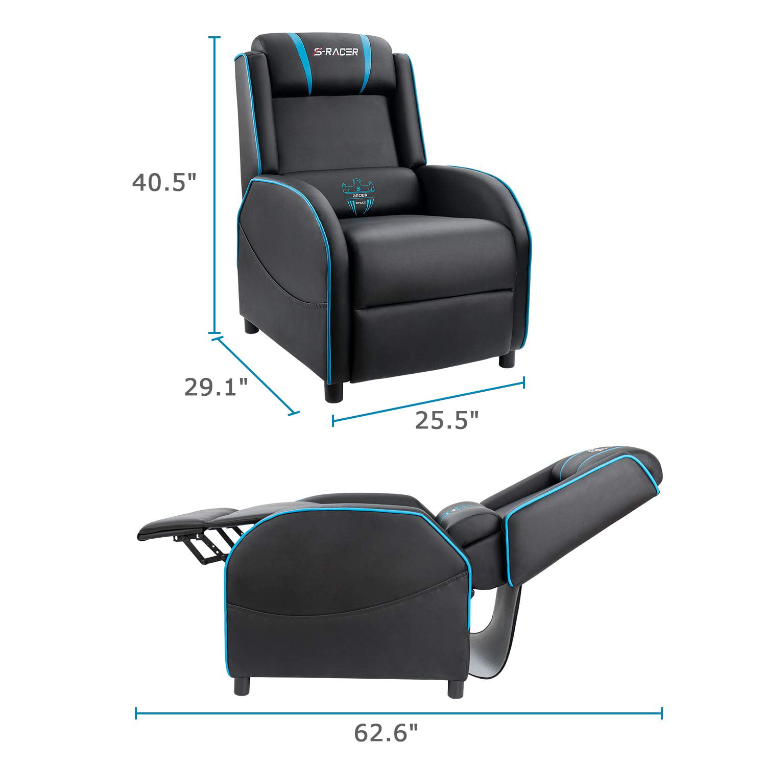 Picture of: Homall Gaming Recliner Chair With Pu Leather Black Blue Walmart Com Walmart Com