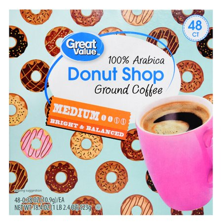 (2 Pack) Great Value Donut Shop 100% Arabica Medium Ground Coffee, 0.38 oz, 48
