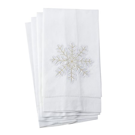 Saro Embroidered Snowflake Design Hemstitched Linen Cotton Guest Towel - Set of 4 Linen Guest Towel Set
