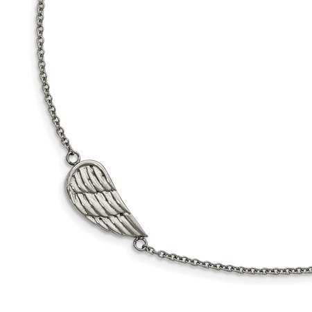 Mia Diamonds Stainless Steel Polished and Brushed 1.25in ext. Angel Wing Bracelet