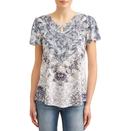 Keyhole Detail Maternity Shirt (Women's Flutter Sleeve Keyhole Sublimation)