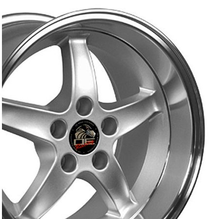 17x10.5 Wheel Fits Ford® Mustang® - Cobra R Style DD Silver Rim with Machined Lip - REAR FITMENT ONLY