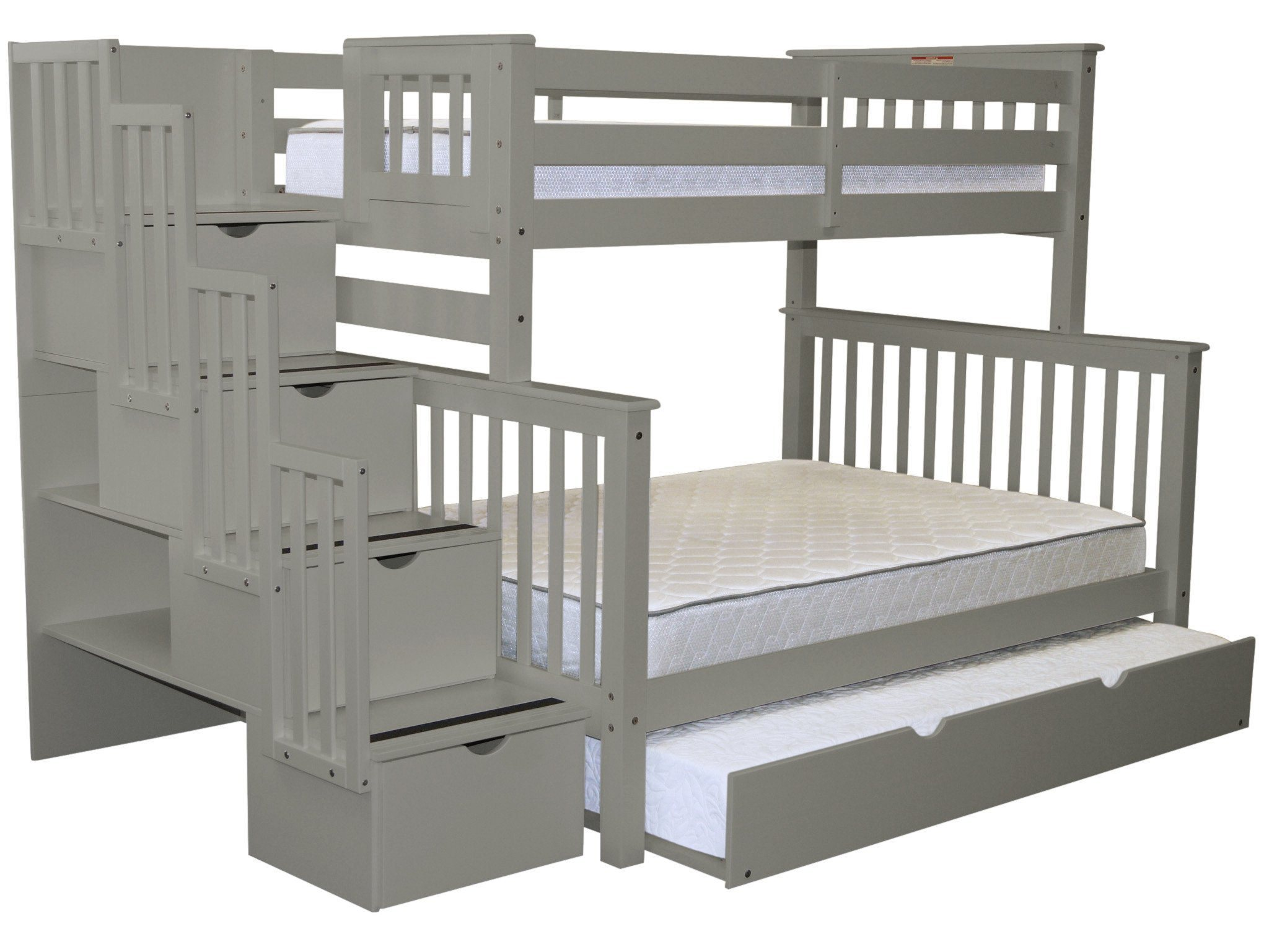 Bedz King Stairway Bunk Beds Twin Over Full With 4 Drawers In The Steps And  A
