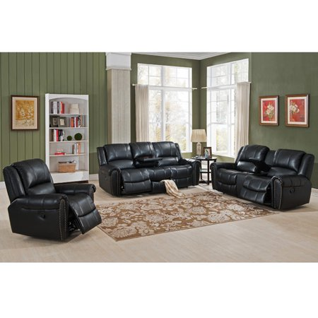 Amax houston 3 piece leather living room set for 7 piece living room set with tv