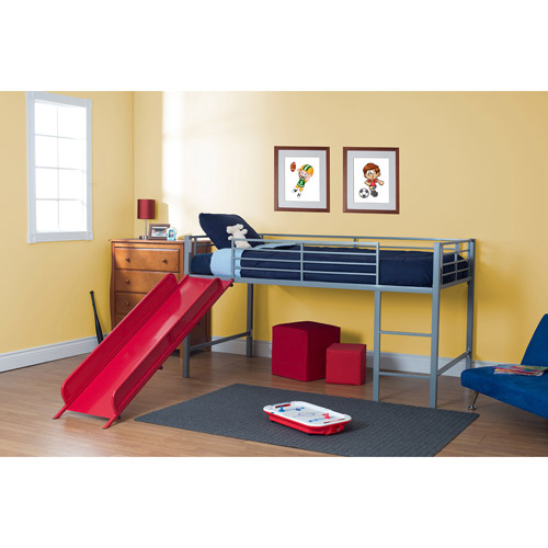 twin junior twin metal loft bed with slide, silver/red (component