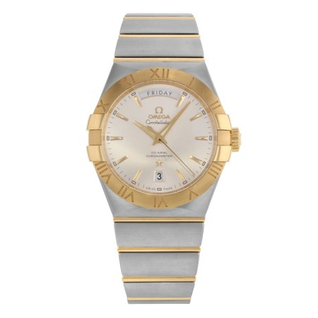 Pre-Owned Omega Constellation Silver Dial Day 18K Gold Steel Men Watch 123.20.38.22.02.002