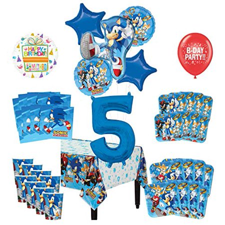 Mayflower Products Sonic The Hedgehog 5th Birthday Party Supplies 8 Guest Decoration Kit and Balloon - Party And Balloon Store