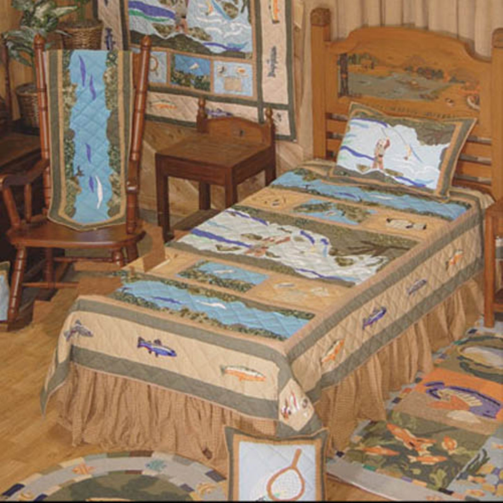 Patch Magic QQFFSH Fly Fishing, Quilt Queen 85 x 95 inch