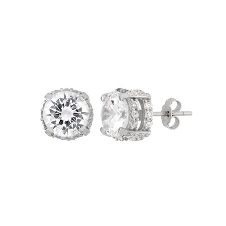 White CZ 9mm Round Fancy Gallery Sterling Silver Stud