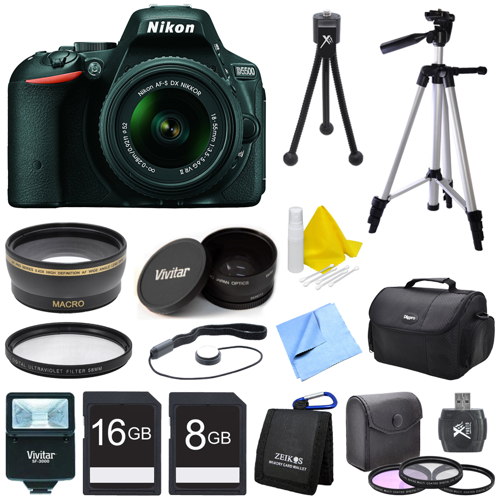 Nikon D5500 Black DX-format Digital SLR Camera with AF-S NIKKOR 18-55mm VR Lens with Wide Lens, Converter, and Flash Bundle - Includes Wide Angle Lens, Lens Converter, Flash, Filter Kit, Filter, 2 Me