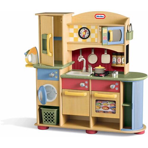 Little Tike Kitchen | Little Tikes Deluxe Wooden Kitchen Laundry Center Walmart Com