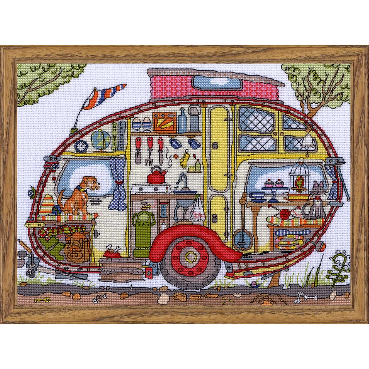 Bothy Threads Cut Thru' Vintage Caravan Counted Cross-Stitch Kit