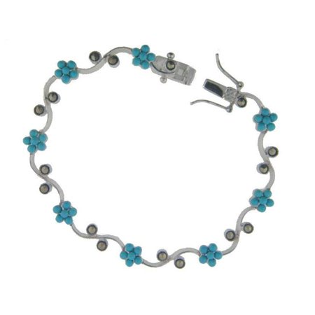 Fronay 412231 Sterling Silver Bracelet-Mini Turquise Beads, Marcasite 7 in. Box Closure & Safety - image 1 de 1