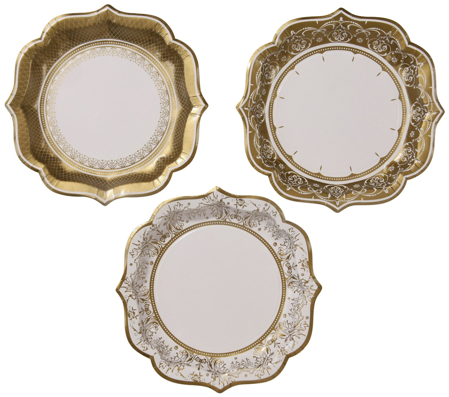 Talking Tables Gold Party Large Gold Party Plates for a Wedding or as Party Decorations Gold (12 Pack) Medium - Walmart.com  sc 1 st  Walmart : large disposable plates - pezcame.com