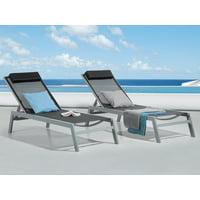 Patio Outdoor Aluminium Lounger Black Adjustable Backrest Cushion Catania II